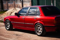 The rear of the old, red, German car.  royalty free stock photos
