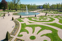 The rear of the palace Het Loo with a decorative fountains in th Stock Image