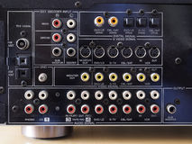 Rear panel of an audio video amplifier Royalty Free Stock Photography