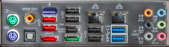 Rear panel computer connectors as background. Texture, banner wide image stock image