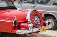 Rear part of vintage Ford Thunderbird presented on oldtimer car show, Israel royalty free stock image