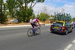 Jetse Bol, Team Manzana Postobon Following The Lotto Jumbo Team Car. At the rear of the peleton during stage 9 of La Vuelta Espana 2017 Stock Photos