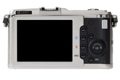 Rear perspective of digital camera with LCD screen Stock Image