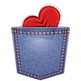 Rear pocket with lace heart Stock Photo