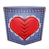 Rear pocket with sewn lace heart Royalty Free Stock Photo