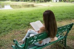 Attractive woman read book in park. Rear portrait of Asian brunette woman read text book and sit on garden chair near pond and nature fresh background. Cute girl stock images