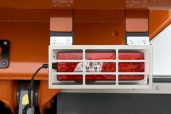 Rear position lamps. With metal protective cover on the rear of the truck stock photos