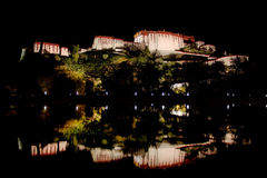 Rear of Potala Palace reflected in pool of water. Stock Photography