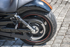 Rear powerful motorcycle wheel Stock Images