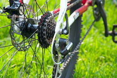 Rear racing bike cassette. On the wheel with chain stock photography