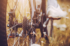 Rear racing bike cassette on the wheel with chain Royalty Free Stock Photography