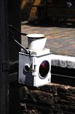 Rear railway lantern with red light. Royalty Free Stock Image
