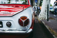 Rear of Red and White Ford Cortina Stock Image
