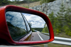 Rear road view. On a summer day stock photography