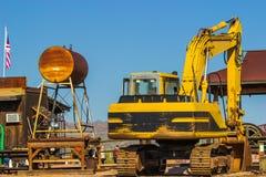 Rear of Scoop Shovel Bulldozer Next To Water Tank In Arizona Des Stock Photo