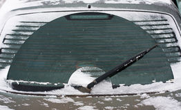 Rear screen wiper. In winter Royalty Free Stock Image