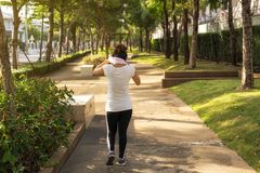 Asian woman wipe sweat after running. Rear shote of young Asian woman use pink towel to wipe sweat after running at outdoor park during sunset. Sport jogging royalty free stock photos