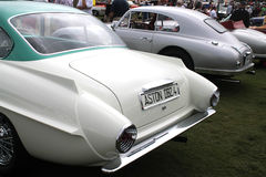 Rear side Classic aston martin db2/4 supersonic at concours. Rear side view of tail fins and lamps. classic 1956 Italian styled aston martin db2/4 supersonic Royalty Free Stock Image