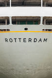 Rear side of an old Rotterdam based cruise ship. Rear side of an old grey cruise ship anchored in the Dutch harbor city Rotterdam Stock Photography