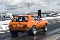 Amc gremlin at the starting line. Rear side view of amc gremlin on the track at the starting line during the john scotti all out august 17, 2017 Stock Image