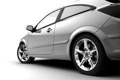 Rear-side view of a car on white Royalty Free Stock Photo
