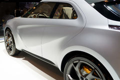 Rear-side view of a modern car. At the auto show Stock Image