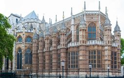 Westminster Abbey, London, England, gothic architecture. Rear side of Westminster Abbey revealing intricate gothic styling and symmetry royalty free stock photos
