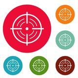 Rear sight icons circle set vector. Isolated on white background Stock Photos