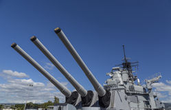 Rear Sixteen Inch Guns of the USS Missouri Battleship Royalty Free Stock Photos