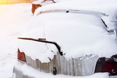 Rear snow-covered car window royalty free stock photo
