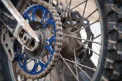 Rear sport motocross bike wheel Royalty Free Stock Photo