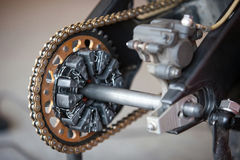 Rear sprocket and chain sports bike Stock Photography
