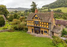 The Gatehouse, Stokesay Castle, Shropshire, England. The rear of the stunning 17th century gatehouse that is the entrance to the famous Stokesay Castle as seen Royalty Free Stock Image