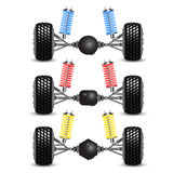 Rear suspension car. Set rear suspension car with different gearing. Vector Illustration Stock Photography