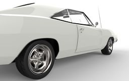 Rear tire of a vintage white muscle car Stock Image