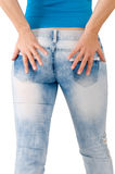 The rear view. The girl in blue jeans - the rear view Royalty Free Stock Photos