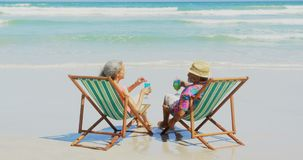 Rear view of active senior African American couple toasting drinks on deckchair at beach 4k. Rear view of active senior African American couple toasting drinks stock video