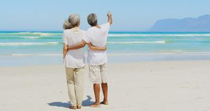 Rear view of active senior African American man pointing out at distance to woman at beach 4k. Rear view of active senior African American man pointing out at stock footage
