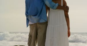 Rear view of African american couple standing together on the beach 4k. Rear view of African american couple standing together on the beach. They are spending stock footage