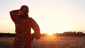 Rear View of African woman in traditional clothes standing in a field of crops at sunset or sunrise. HD Video clip of African woman in traditional clothes stock video