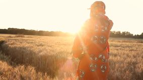 Rear View of African woman in traditional clothes standing in a field of crops at sunset or sunrise. HD Video clip of African woman in traditional clothes stock video footage