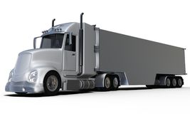Rear view aluminum trailer truck front Royalty Free Stock Photo