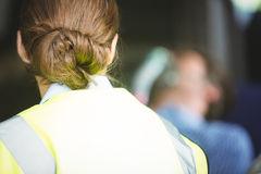 Rear view of a ambulance woman Royalty Free Stock Images