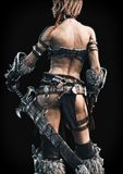 Rear view of an armed female warrior on a black background. 3d rendering royalty free illustration