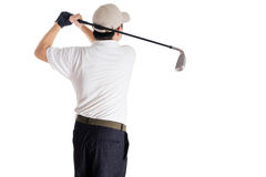 Rear view of Asian Chinese Man Swinging Golf Club Stock Photos