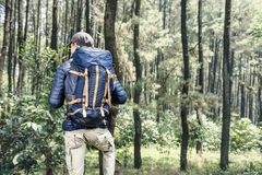 Rear view of asian traveler man with backpack royalty free stock photo
