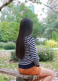 Rear view Asian woman sitting on wood bench in the garden outdoor with looking out.  royalty free stock photo