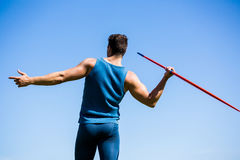 Rear view of an athlete about to throw a javelin Royalty Free Stock Photography