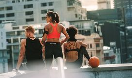 Rear view of athletic man and women sitting on rooftop. Fitness men and women sitting on a rooftop fence after their fitness training. Fitness people relaxing royalty free stock photography