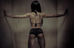 Rear View of an Athletic Woman Touching Walls. Rear View of an Sexy Athletic Woman with Tattoo on her Back Holding the Wooden Wall on the Sides Using her Both Stock Image